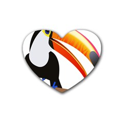 Cute Toucan Bird Cartoon Fly Rubber Coaster (heart)