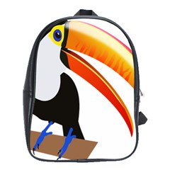 Cute Toucan Bird Cartoon Fly School Bag (large)