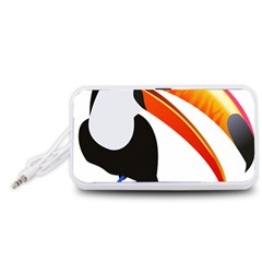 Cute Toucan Bird Cartoon Fly Portable Speaker (white)