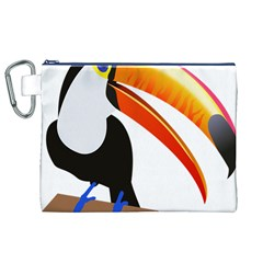 Cute Toucan Bird Cartoon Fly Canvas Cosmetic Bag (xl)