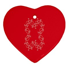Cycles Bike White Red Sport Ornament (heart)