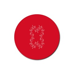 Cycles Bike White Red Sport Rubber Round Coaster (4 Pack)