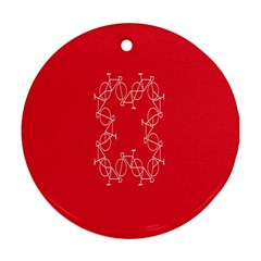 Cycles Bike White Red Sport Round Ornament (two Sides)