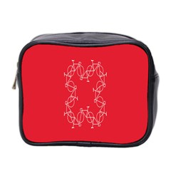 Cycles Bike White Red Sport Mini Toiletries Bag 2 Side