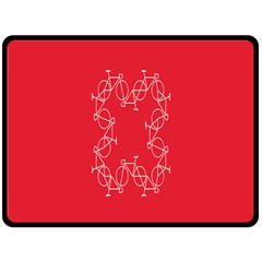 Cycles Bike White Red Sport Fleece Blanket (large)