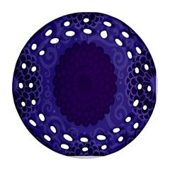 Flower Floral Sunflower Blue Purple Leaf Wave Chevron Beauty Sexy Round Filigree Ornament (two Sides)