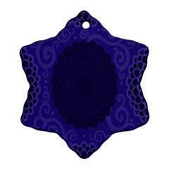 Flower Floral Sunflower Blue Purple Leaf Wave Chevron Beauty Sexy Snowflake Ornament (two Sides)