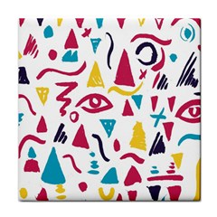 Eye Triangle Wave Chevron Red Yellow Blue Tile Coasters