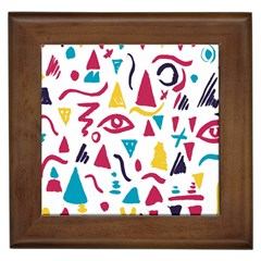 Eye Triangle Wave Chevron Red Yellow Blue Framed Tiles