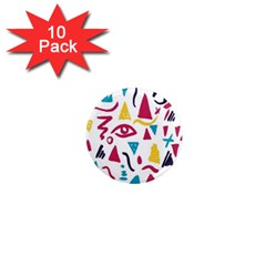 Eye Triangle Wave Chevron Red Yellow Blue 1  Mini Magnet (10 Pack)