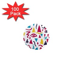 Eye Triangle Wave Chevron Red Yellow Blue 1  Mini Magnets (100 Pack)