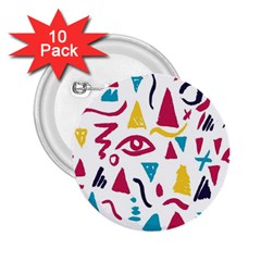 Eye Triangle Wave Chevron Red Yellow Blue 2 25  Buttons (10 Pack)