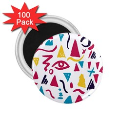 Eye Triangle Wave Chevron Red Yellow Blue 2 25  Magnets (100 Pack)