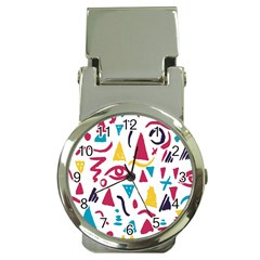 Eye Triangle Wave Chevron Red Yellow Blue Money Clip Watches