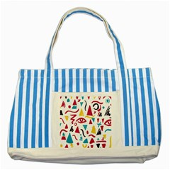 Eye Triangle Wave Chevron Red Yellow Blue Striped Blue Tote Bag