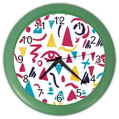 Eye Triangle Wave Chevron Red Yellow Blue Color Wall Clocks