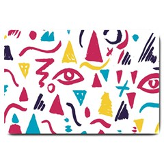 Eye Triangle Wave Chevron Red Yellow Blue Large Doormat