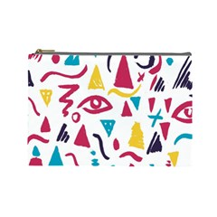 Eye Triangle Wave Chevron Red Yellow Blue Cosmetic Bag (large)