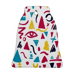 Eye Triangle Wave Chevron Red Yellow Blue Bell Ornament (two Sides)