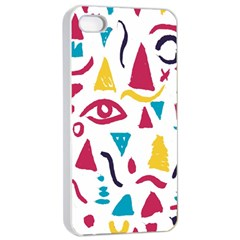 Eye Triangle Wave Chevron Red Yellow Blue Apple Iphone 4/4s Seamless Case (white)