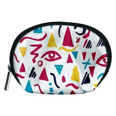 Eye Triangle Wave Chevron Red Yellow Blue Accessory Pouches (medium)
