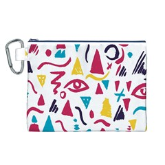 Eye Triangle Wave Chevron Red Yellow Blue Canvas Cosmetic Bag (l)