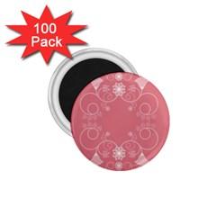 Flower Floral Leaf Pink Star Sunflower 1 75  Magnets (100 Pack)