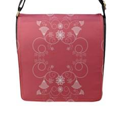 Flower Floral Leaf Pink Star Sunflower Flap Messenger Bag (l)