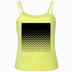 Gradient Circle Round Black Polka Yellow Spaghetti Tank