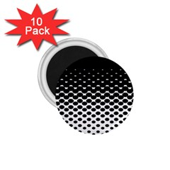 Gradient Circle Round Black Polka 1 75  Magnets (10 Pack)