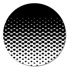 Gradient Circle Round Black Polka Magnet 5  (round)