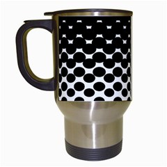 Gradient Circle Round Black Polka Travel Mugs (white)