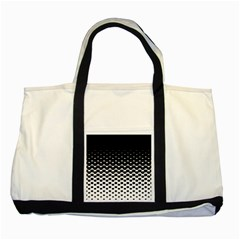Gradient Circle Round Black Polka Two Tone Tote Bag