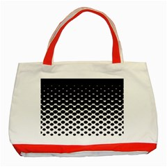 Gradient Circle Round Black Polka Classic Tote Bag (red)