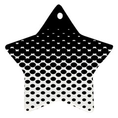 Gradient Circle Round Black Polka Star Ornament (two Sides)