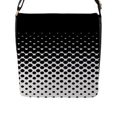 Gradient Circle Round Black Polka Flap Messenger Bag (l)