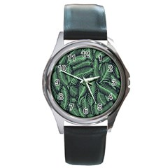 Coconut Leaves Summer Green Round Metal Watch