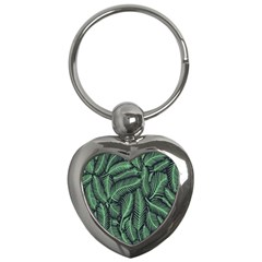 Coconut Leaves Summer Green Key Chains (heart)