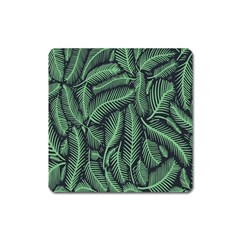 Coconut Leaves Summer Green Square Magnet