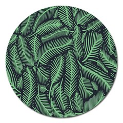 Coconut Leaves Summer Green Magnet 5  (round)