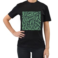 Coconut Leaves Summer Green Women s T Shirt (black) (two Sided)