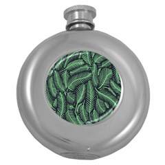 Coconut Leaves Summer Green Round Hip Flask (5 Oz)