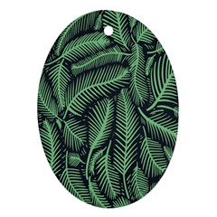 Coconut Leaves Summer Green Oval Ornament (two Sides)