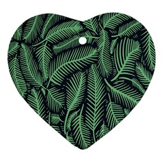 Coconut Leaves Summer Green Heart Ornament (two Sides)
