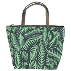 Coconut Leaves Summer Green Bucket Bags
