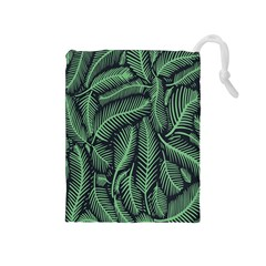 Coconut Leaves Summer Green Drawstring Pouches (medium)