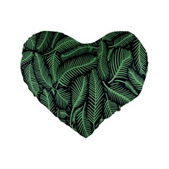 Coconut Leaves Summer Green Standard 16  Premium Flano Heart Shape Cushions