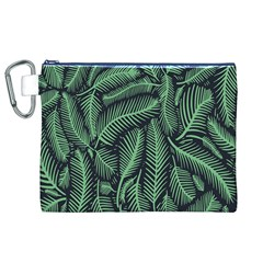Coconut Leaves Summer Green Canvas Cosmetic Bag (xl)