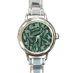 Coconut Leaves Summer Green Round Italian Charm Watch