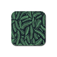 Coconut Leaves Summer Green Rubber Coaster (square)